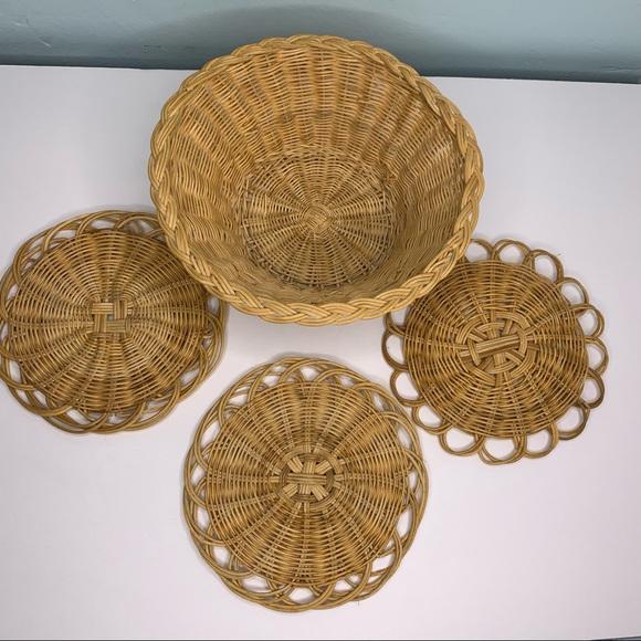 Vintage Tan Basket & 3 Woven Tan Trivets or Disks